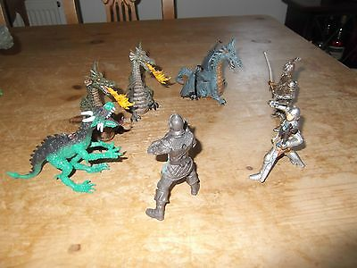 Fantasy Action Figures: JOB LOT , 4 DRAGONS and 3 KNIGHTS
