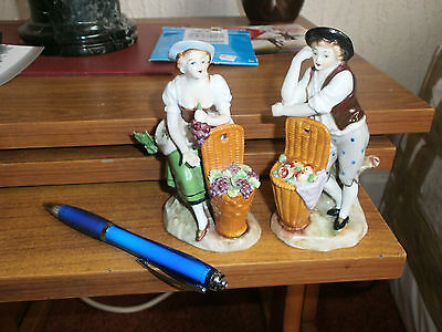 "Sitzendorf Pair Of ""Fruit"" Seller Matching Figurines -Good Cond"