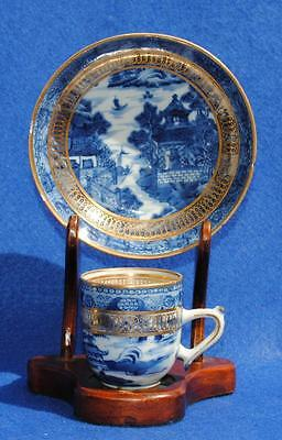 Antique 18Th Century Chinese Porcelain Hand Painted Cup And Saucer With Gilding