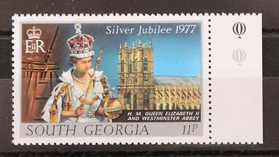 Falkland 1977 South Georgia Silver Jubilee MNH 11p Watermark Crown Right of CA