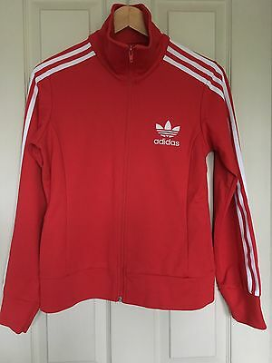 Women's Adidas Tracksuit Top Classic Vintage Size 12 Red White