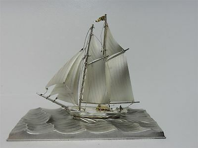 SOLID STERLING SILVER 2 MASTED YACHT SHIP BOAT BY SEKI JAPAN SCRAP 72 gr 2.5 OZ