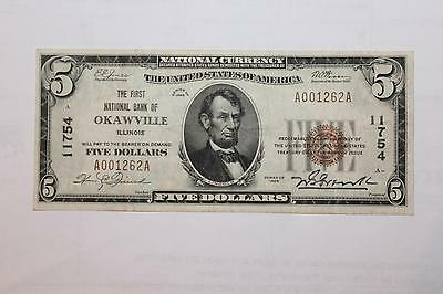 $5 Dollar 1929 National Currency, Okawville Illinois Type 1 NB CH# 11754 K1736