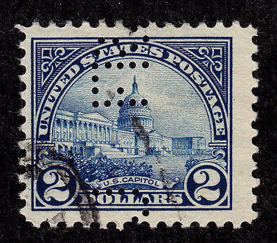 US Scott #572 stamp - used, w / perfin - 1923 - nice $2 early US classic stamp !