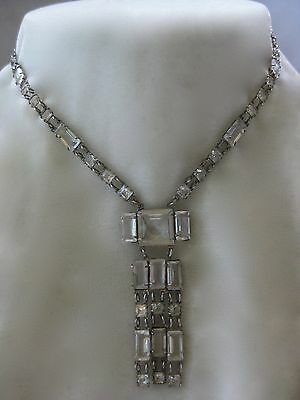 Art Deco Sterling Silver French Paste Long Necklace