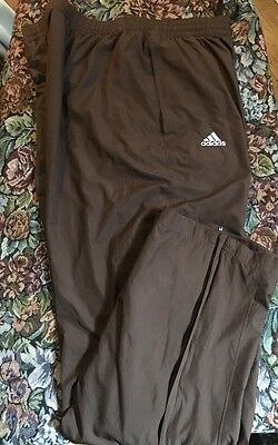 Adidas Men's Polyester L Athletic Pants Sweatpants  Pockets Brown Lined Logo