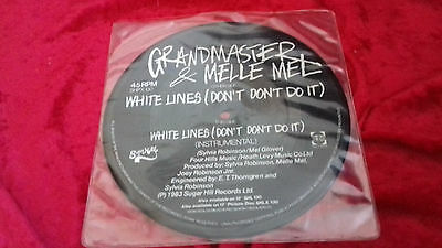 "Grandmaster & Melle Mel white lines UK PICTURE DISC 7"" vinyl single"