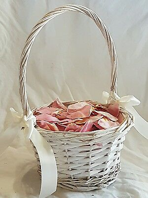 Flower Girl Basket with Real Freeze Dried Rose Petals