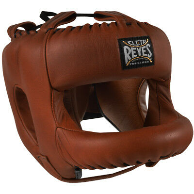 Cleto Reyes Redesigned Leather Boxing Headgear w/ Nylon Face Bar - Vintage Brown