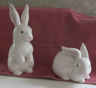 2 Adorable Fitz & Floyd Rabbits Bunnies - 1975