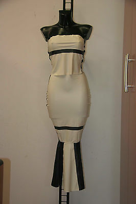 112-Latex Hobble Dress-Gonna lunga in latex a tubino completa di top taglia L