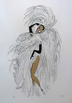 AL HIRSCHFELD JOSEPHINE BAKER IN PARIS Hand Signed Limited Edition Lithograph