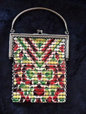 Antique Art Deco Enamel Mesh Purse 1920's Solid Handle Red
