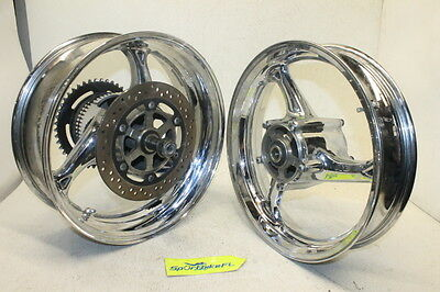 "08-16 SUZUKI HAYABUSA GSX-R 1300 GSXR FRONT REAR WHEEL RIM SET CHROME 17"" 1300r"