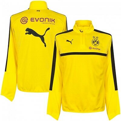 BORUSSIA DORTMUND Mens Yellow 2016/17 PUMA 1/4 Zip Football Training Top XS BNWT