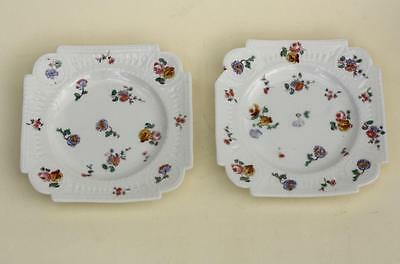 Antique Pare Small Russian Porcelain Floral Plates by Gardner Factory Circa 19 C