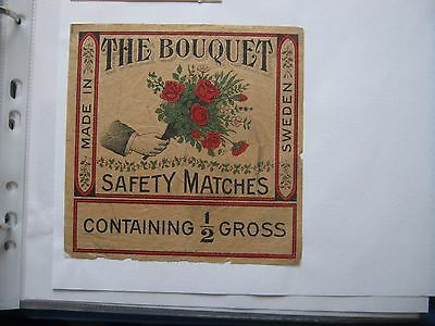 Old Swedish Bouquet Half Gross Size Matchbox Label.