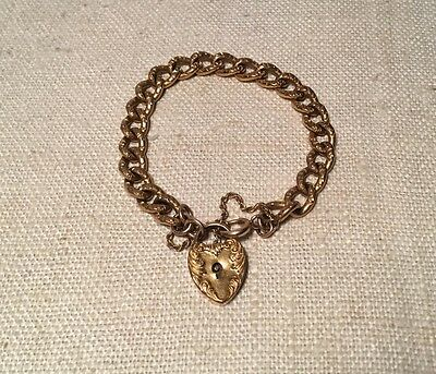 Antique Victorian Yellow Gold Filled Repousse Link Heart Padlock Bracelet