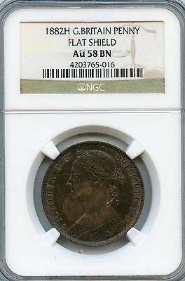 Amazing 1882H NGC AU58 BN Great Britain Penny Flat Shield NC899