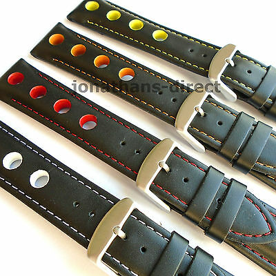 GRAND PRIX RALLY Calf Leather Watch Strap Band Black with Colours Sizes 20 22 24