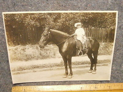 Vintage Photograph/small Girl On A Horse/nice Old Saddle/neat Old Photo
