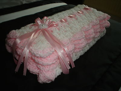 "hand crochet baby girls blanket car seat/crib/pram 26"" WHITE/PINK *NEW*"