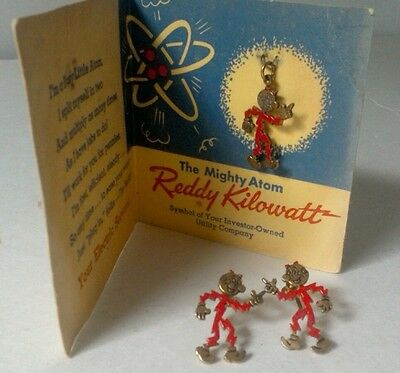 Vintage Reddy Kilowatt (Lot) Earings And Charm