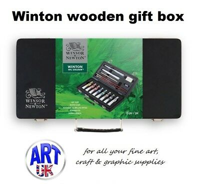 Winsor & Newton WINTON OIL Colour Artists Wooden Small Art Box paint tubes Set