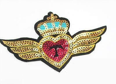 Embroidered & Sequined Applique - Iron On - Crown, Heart & Wings.........a014