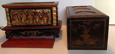 Antique Chinese Wooden Red Gilt Altar Box Stand Shrine w Black Lacquer 19th c