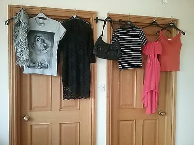 bundle of ladies clothes size 12 asos dress, handbag, tops