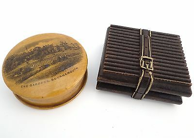 Antique Mauchline Ware Wooden Snuff Box & Carved Miniature Book Stamp Holder