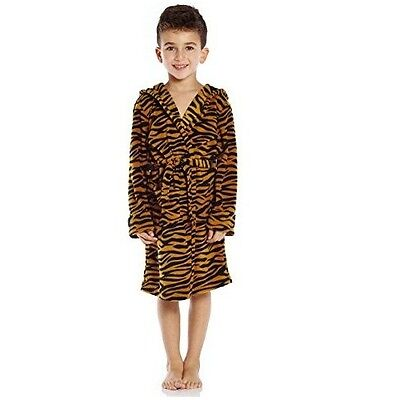 Boys Fleece Tiger Print Bathrobe 14 Year Flame Resistant Lightweight Kid Robe