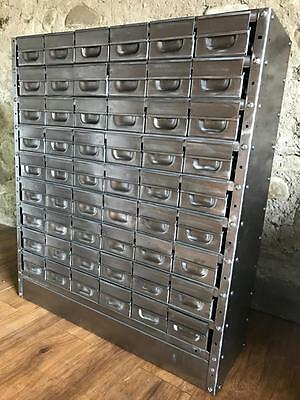 Vintage Industrial Stripped Metal 54 Drawer Cabinet Engineers Drawers