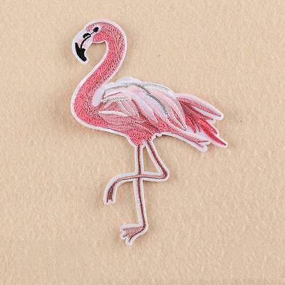Embroidered Applique - Iron On - Large Pink Flamingo...........a004