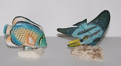 Pair of Hand Carved and Painted Fish on Coral Bases