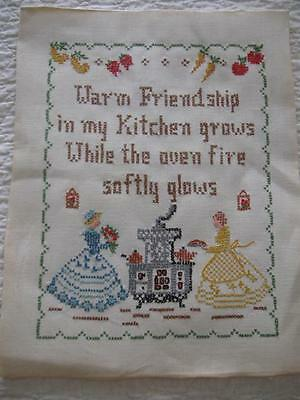 Vintage Cross Stitch Embroidery KITCHEN PRAYER Sampler-11x14-Linen-Completed