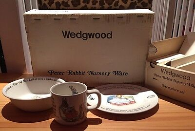 Vintage Wedgwood of Etruria Barlaston Peter Rabbit Nursery Ware 3 Piece Set