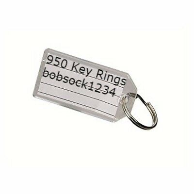 Lot of 950 New Clear Plastic Key Tags & Rings Great for Auto Dealers Rental