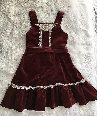 Vintage 70s Bohemian Sleeveless Ruffles Burgundy Velvet And Lace Girls Dress 4t
