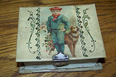 Old antique Celluloid box with child dog flowers sewing / manicure set