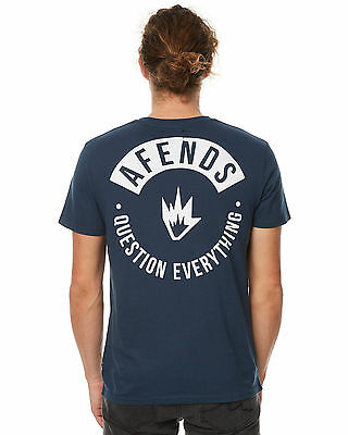 New Afends Men's Yub Mens Tee Crew Neck Short Sleeve Cotton Blue