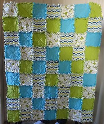 "Fun Frog Flannel Rag Quilt 41""x52"" Blue Lime Green Light Blue - Baby Boy"