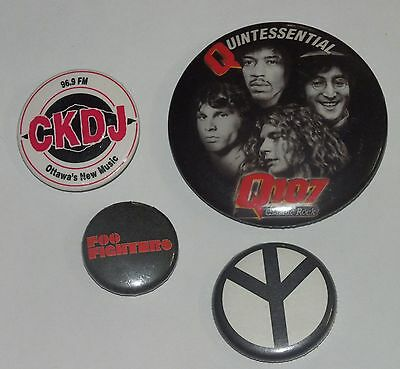Lot PINS Foo Fighters Peace Q107 CKDJ Lennon Hendrix Doors Toronto Ottawa Radio