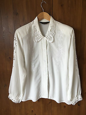 VINTAGE TOP BLOUSE SHIRT White Lace Collar Cut Out Sleeves UK 16 / EUR 44 - VGC
