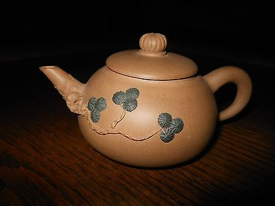 SMALL SIGNED BUFF COLOR CHINESE YIXING CLAY TEAPOT w/ ENAMELED FOLIAGE