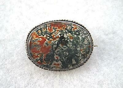 Beautiful Victorian? 830 Silver & Moss Agate Oval Brooch
