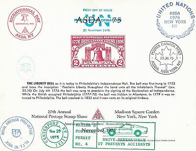ASDA 1975 The Liberty The Liberty Bell 27th Annual Postage Stamp Show New York
