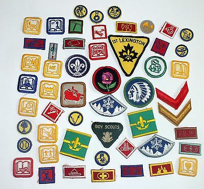 LOT Boy Scout Patches Canada Merit Badges Indian Chief Map