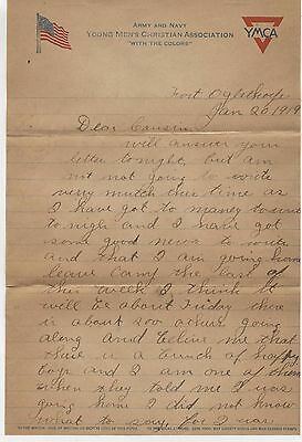 1919 Fort Oglethrope Ft Georgia World War WWI Army Navy Letter YMCA Chattanooga
